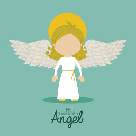 guardian angel: holy guardian angel over blue background vector illustration Illustration