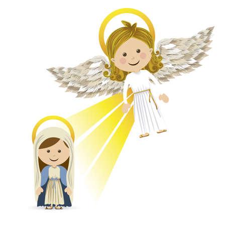 annunciation: messenger angel over white background vector illustration