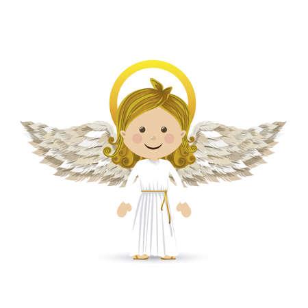 흰색 배경 벡터 일러스트 레이 션을 통해 거룩한 수호 천사