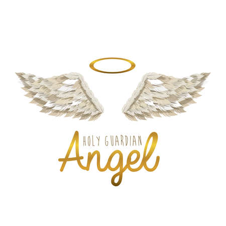 angel white: holy guardian angel over white background vector illustration