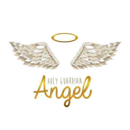 alas de angel: santo �ngel de la guarda sobre fondo blanco ilustraci�n vectorial Vectores