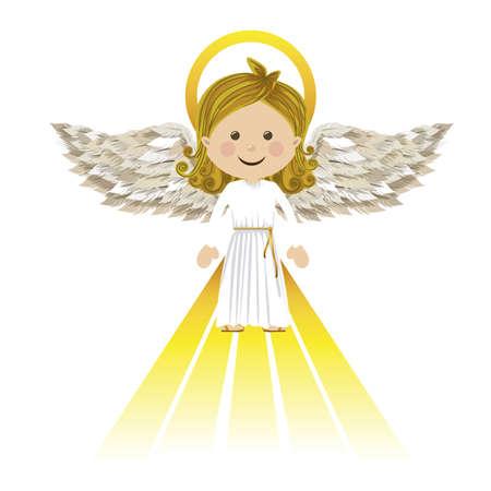 흰색 배경에 벡터 일러스트 레이 션을 통해 거룩한 수호 천사 일러스트