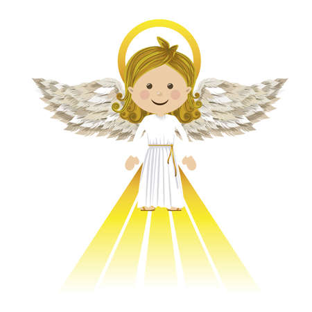 guardian angel: holy guardian angel over white background vector illustration