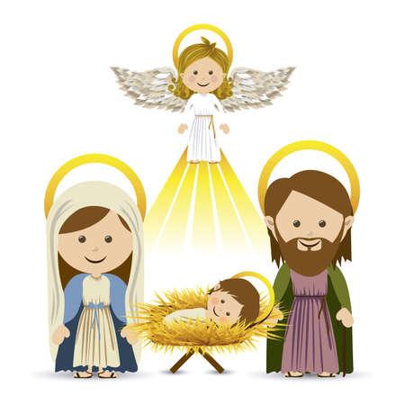 holy spirit: messenger angel over white background vector illustration