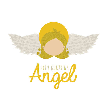 holy guardian angel over white background vector illustration Vector
