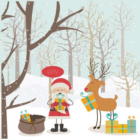 christmas landscape: christmas design over  landscape background vector illustration