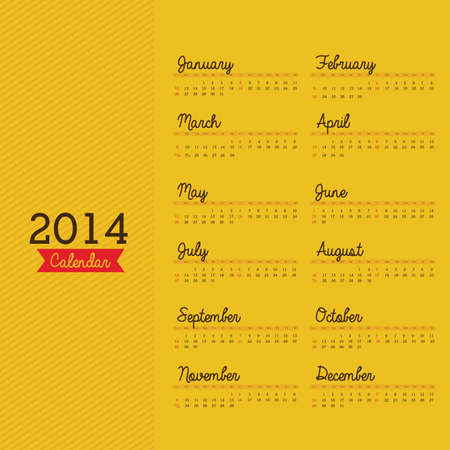 calendar design over yellow background vector illustration
