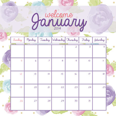calendar design over floral background vector illustration Vector