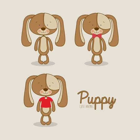 puppies design over beige background vector illustration  Vector