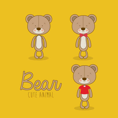 bears design over yellow  background vector illustration  Vector