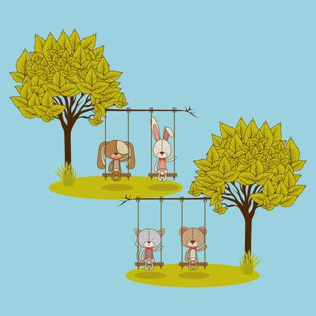 animals design over blue  background vector illustration  Vector