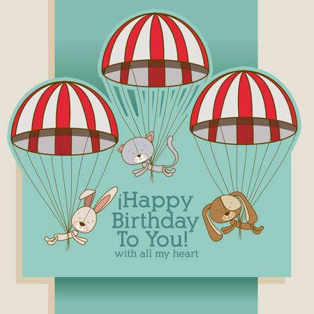 tender: birthday design over gray background vector illustration