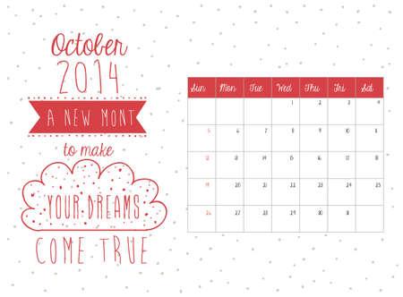 calendar design: calendar design over october background vector illustration