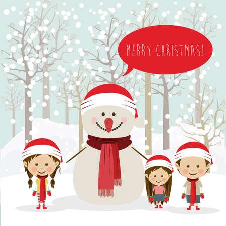 schneelandschaft: frohe weihnachten Design �ber Schneelandschaft Hintergrund Vektor-Illustration