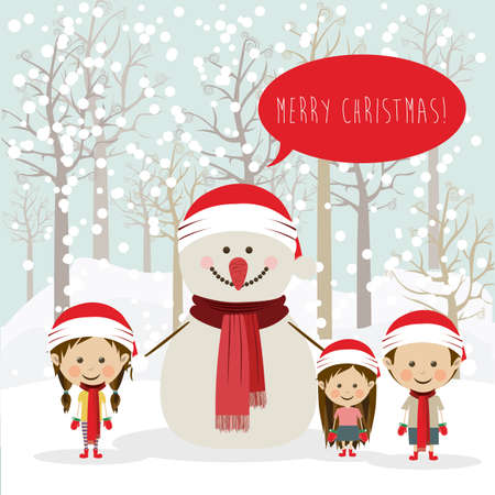 merry christmas  design over snowscape   background vector illustration Vector