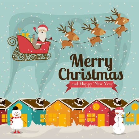 christmas and happy new year  over blue   background vector illustration Vector