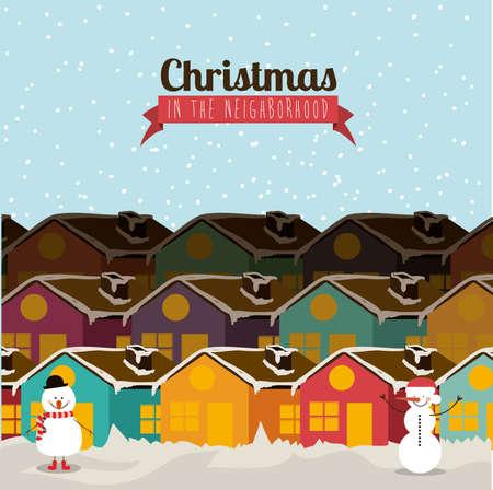 christmas design  over blue   background vector illustration Vector