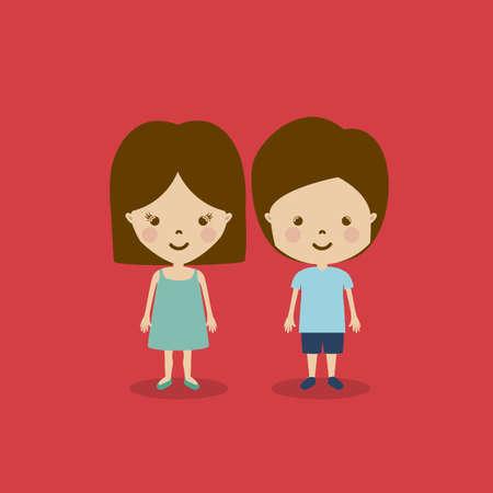 camaraderie: kids design over red background vector illustration