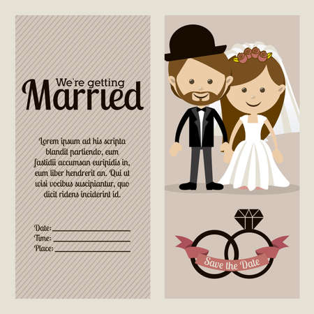 getting married: married design over  purple background vector illustration