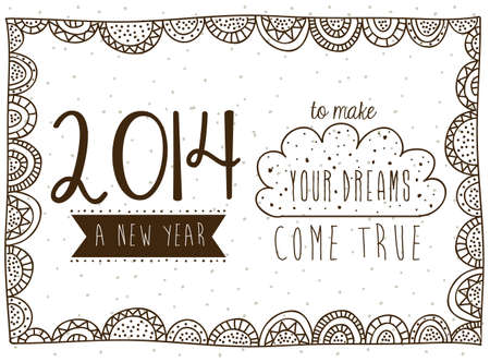 happy new year 2014 over white background vector illustration Vector
