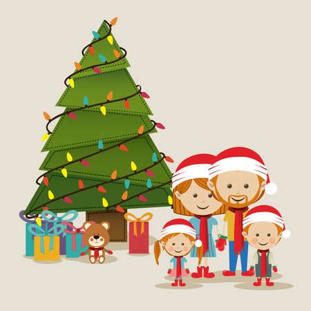 holiday light: merry christmas  design over beige   background vector illustration Illustration
