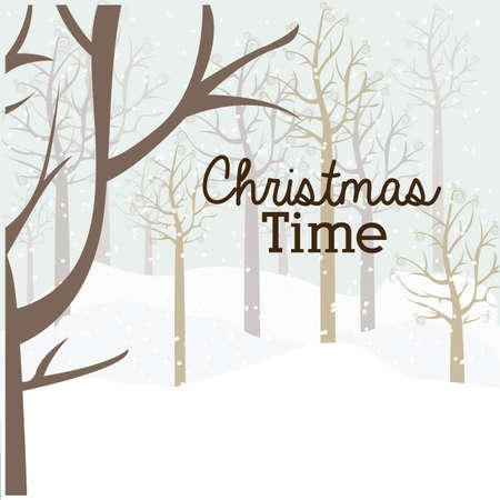 snowscape: merry christmas  design over snowscape   background vector illustration Illustration