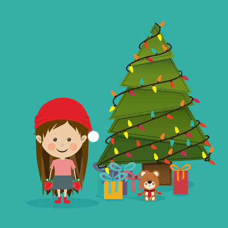 merry christmas  design over blue   background vector illustration Vector