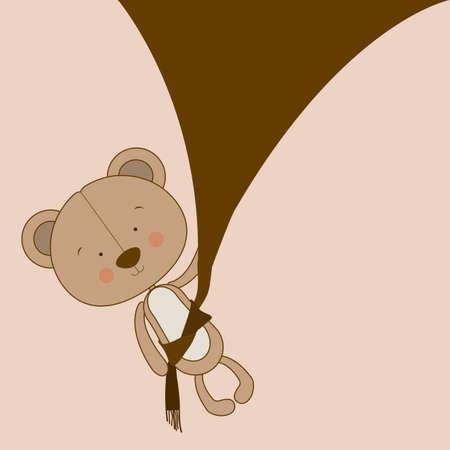 bear design over pink  background vector illustration  Vector