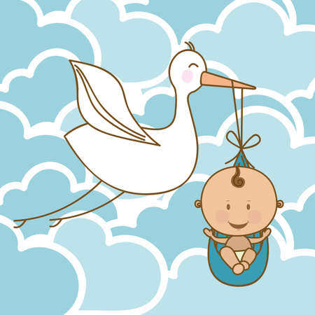 baby arrival design over clouds background vector illustration   Vector
