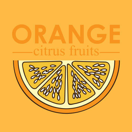 halved: orange citrus fruit  over yellow background vector illustration   Illustration