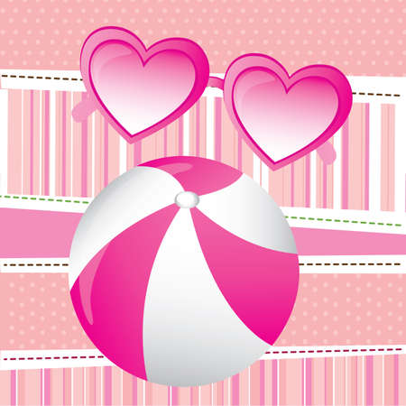 inflate: balloon love over pink background vector illustration