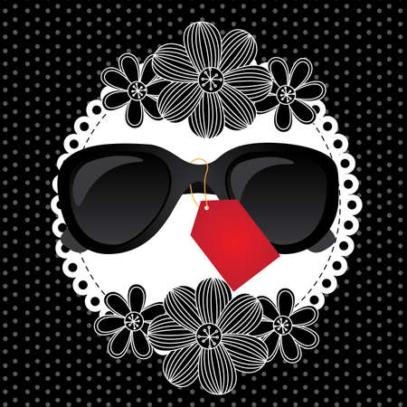 tagged: black sunglasses tagged isolated over dotted background. vector illustration   Illustration
