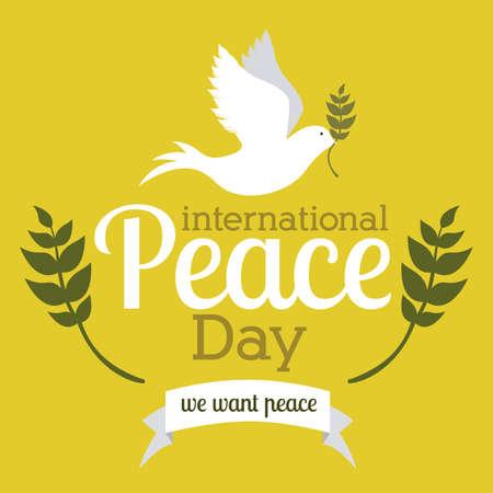 bird peace: dise�o de la paz sobre fondo amarillo ilustraci�n vectorial