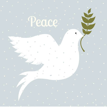dove in flight: peace design over blue  background vector illustration