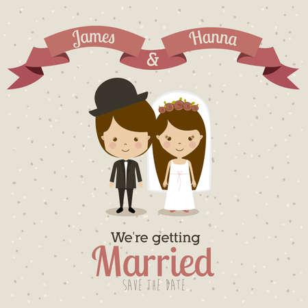 getting married: married design over beige  background vector illustration