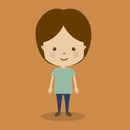camaraderie: boy design over brown background  vector illustration