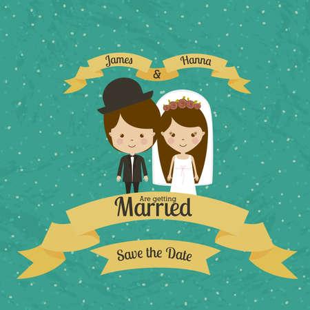 getting married: married design over blue background vector illustration