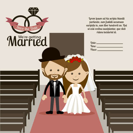 getting married: married design over  church background vector illustration