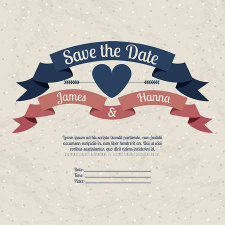 save the date: married design over beige  background vector illustration