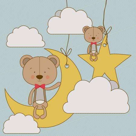 animalitos tiernos: osos diseño sobre el cielo de fondo ilustración vectorial