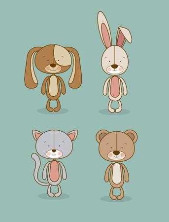 animals design over blue  background vector illustration