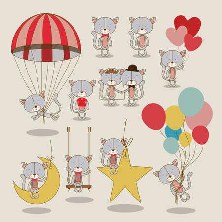 kitties design over beige  background vector illustration  Vector