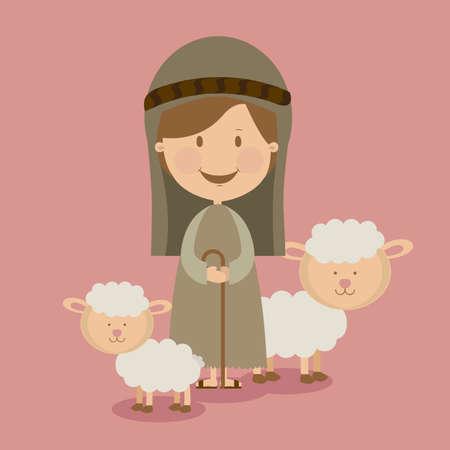manger design over pink background vector illustration