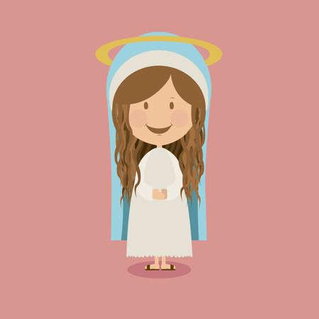 portal de belen: diseño pesebre sobre fondo rosa ilustración vectorial