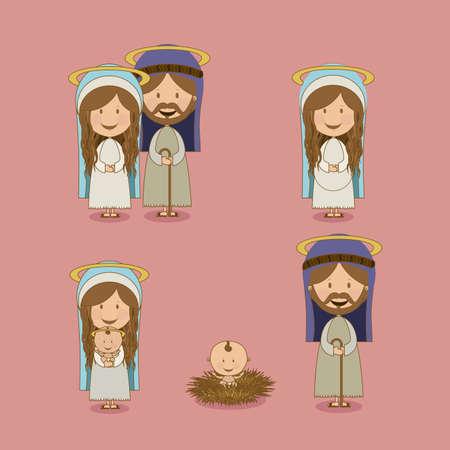 saint mary: manger design over pink  background vector illustration
