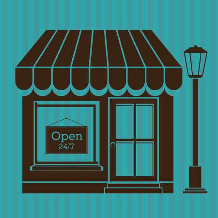 frontdoor: store design over blue background vector illustration Illustration