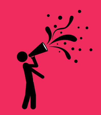 megaphone isolated over pink background. vector illustration Çizim