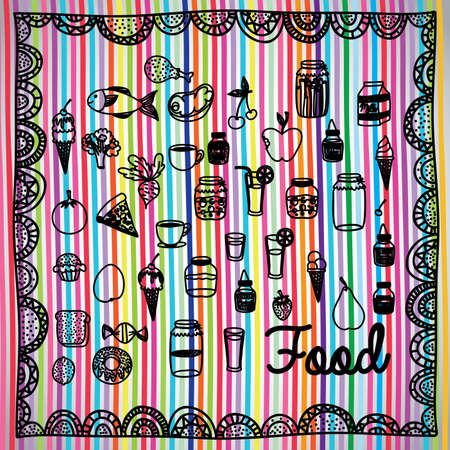 palitra: food design over lineal background vector illustration