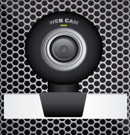 black web cam over grid  background. vector  illustration Stock Vector - 23747986