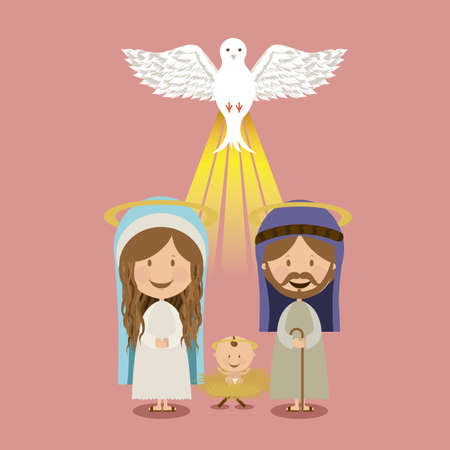 holy family: holy design over pink background vector illustration